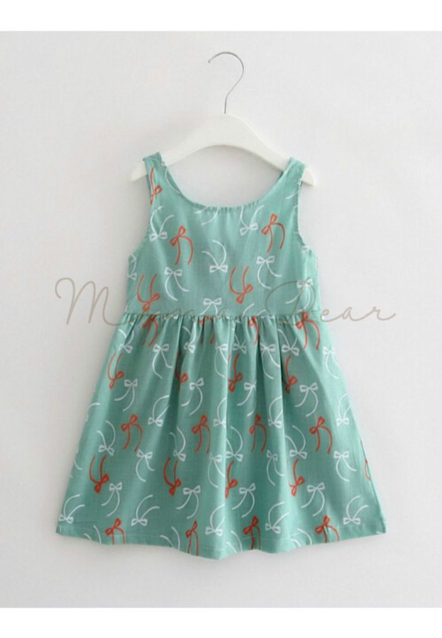 Ribbon Print Sleeveless Dress