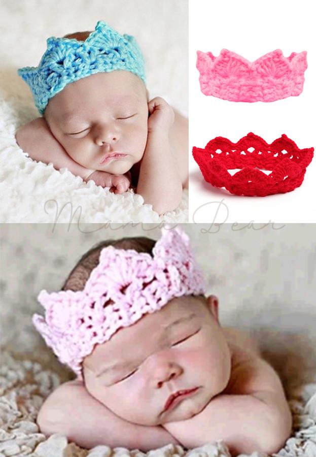 Little Crown Knitted Crochet Baby Headband