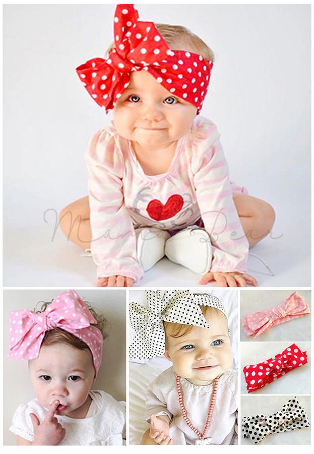 MamaBear · Home · BABY GIRL · Ribbon Polka Dot Baby Headband c4621bc3353