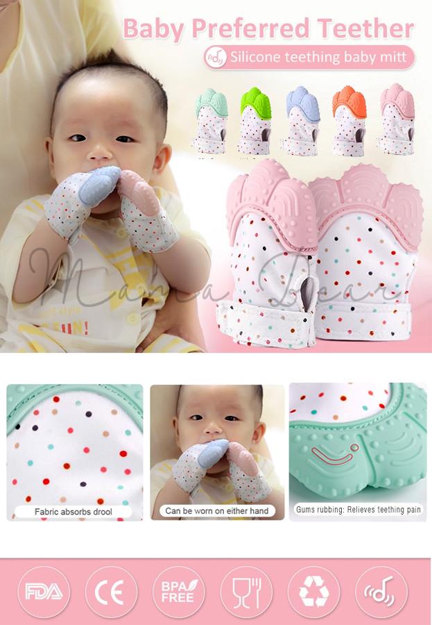 Baby Teether Glove Baby Mitten Teething Glove with Sound 1PC