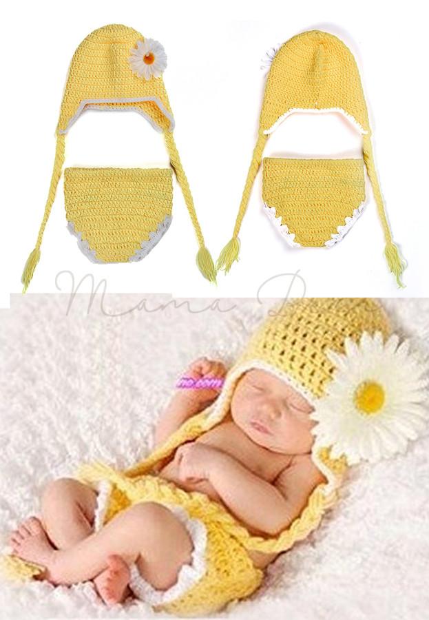 0166d2361c46e Crochet Daisy Flower Newborn Baby Costume Hat Shorts Set Infant Outfits