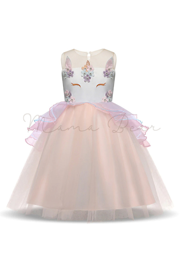 Baby Girl Unicorn Horse Floral Princess Tutu Mesh Lace Dress