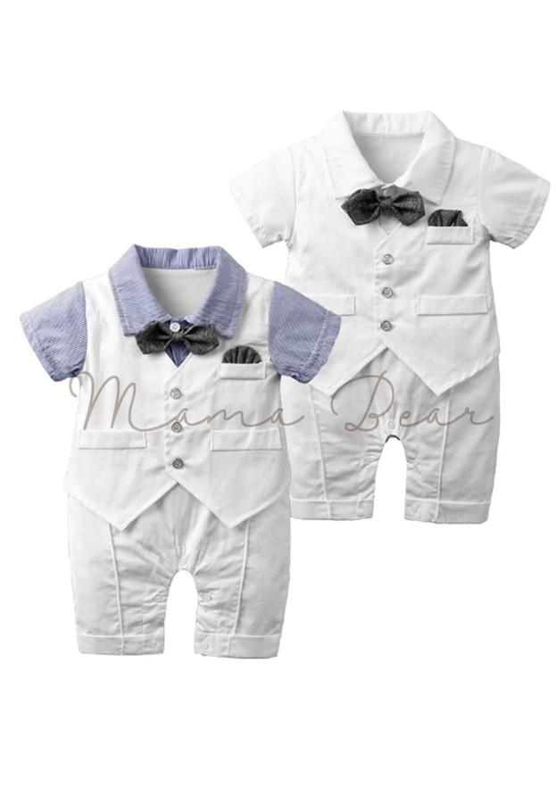 Baby Tuxedo Baptismal Baby Romper Gentleman Tuxedo with Bowtie Baby Bodysuit Baby Waistcoat