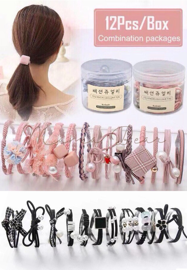 12pcs. Cute Ponytails Elastic Hair Bands Set