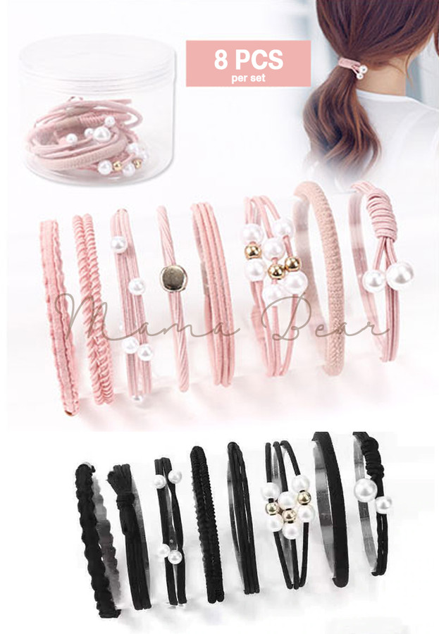 8pcs. Cute Ponytails Elastic Hair Bands Set
