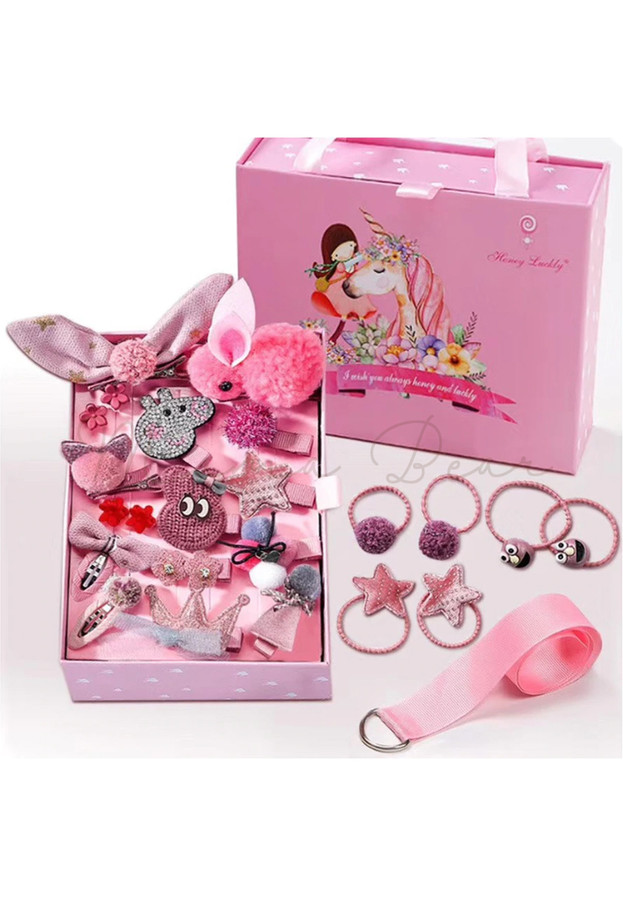 24pcs Kids Hair Accessories Set Baby Hair Accessories Children Hair Pin Hair Tie with Organizer Gift