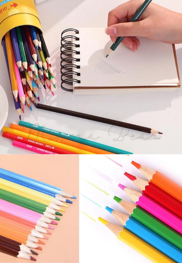 12pcs Color Pencil Stationery Cute Cartoon Drawing Coloring Pencil Pen