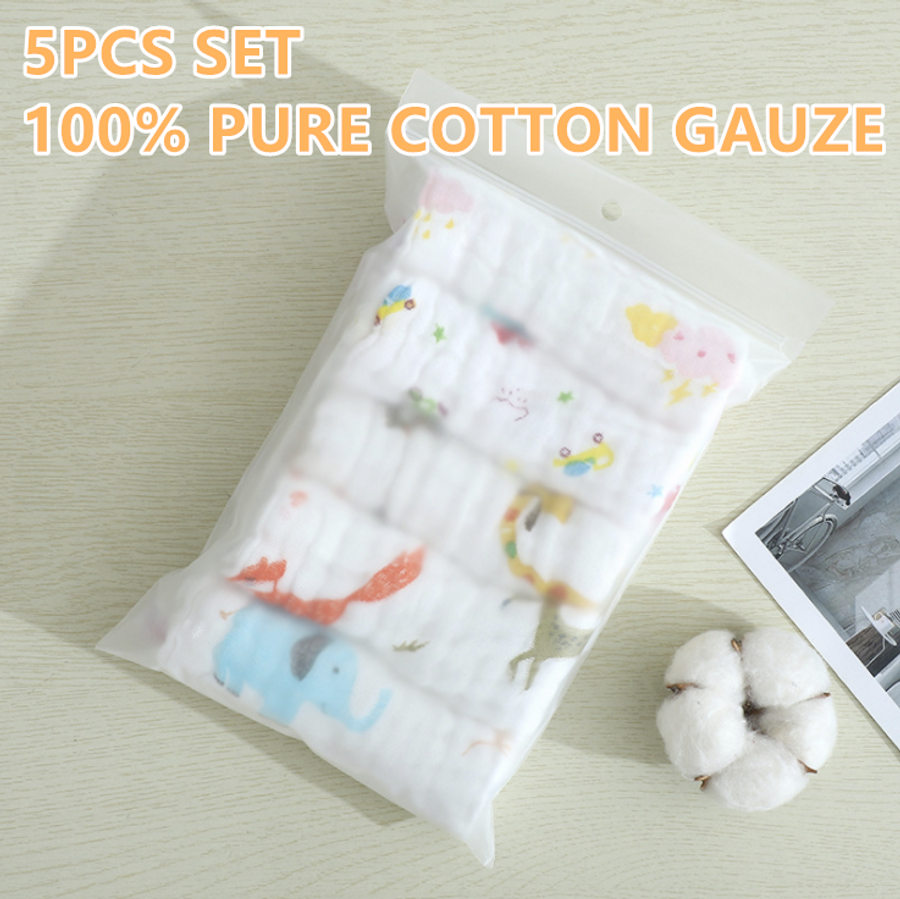 5pcs Set Cotton Gauze Baby Towel 25*25cm 6 Layer Burp Cloth Bib Muslin Towel Lampin