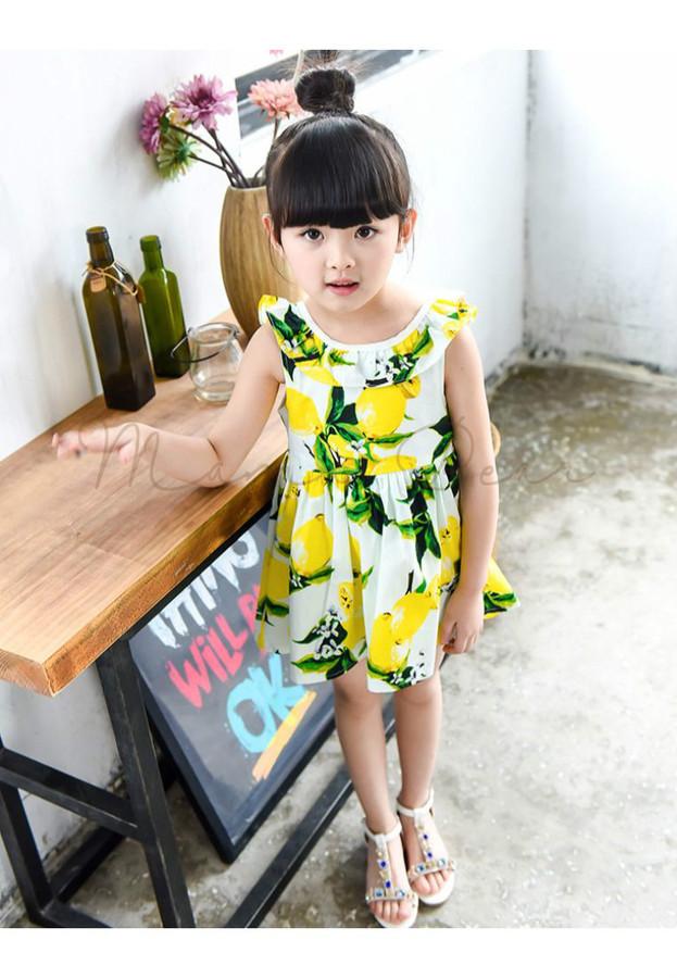 Summer Lemon Print Kids Dress