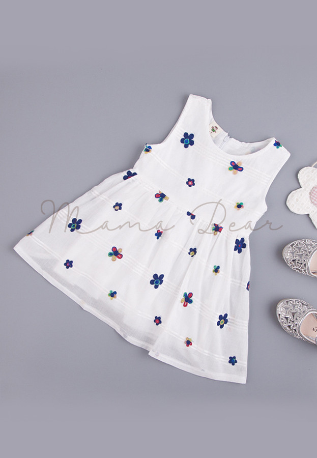Flowers and Lines Printed Sleeveless Kids Dress