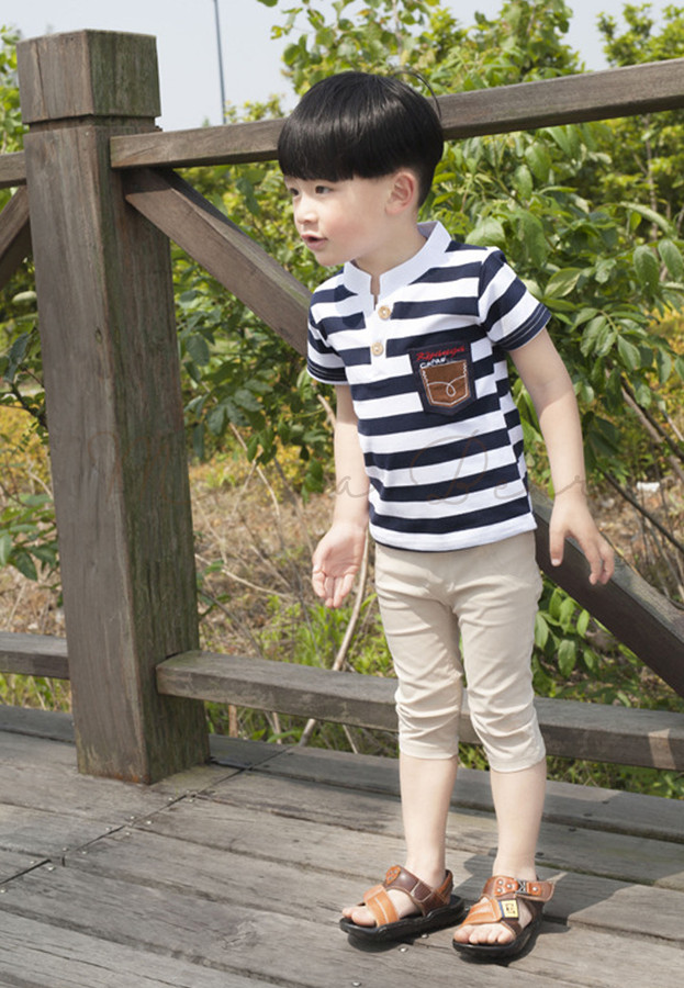 Stripes with Collar Kids Top and Pants Set