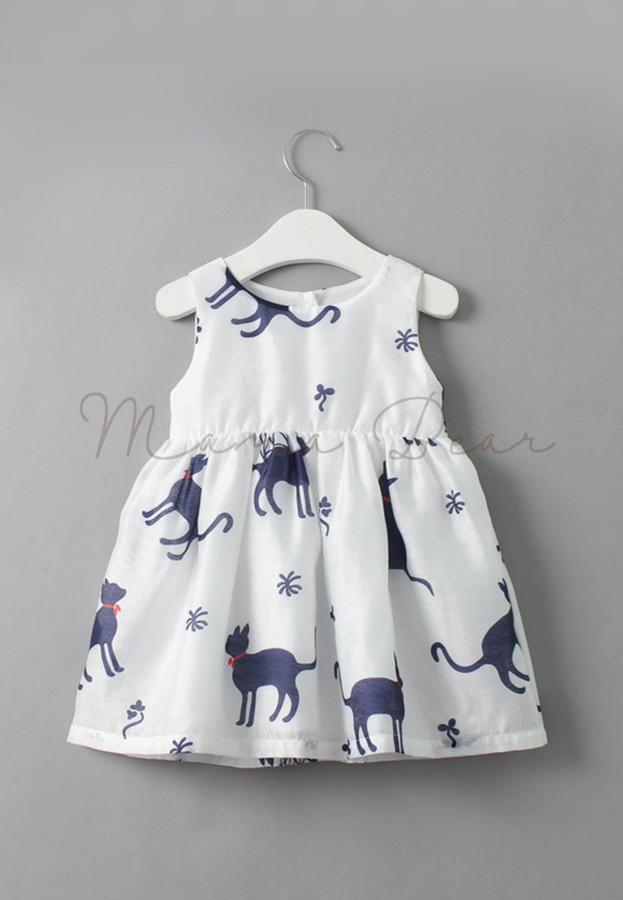 Cats and Clover Printed Kids Dress