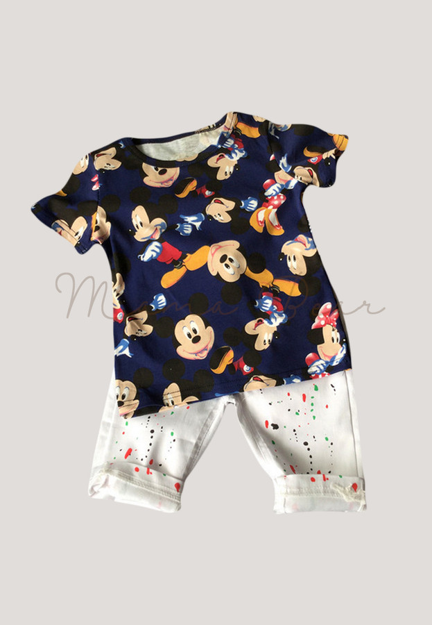Mickey and Minnie Print Kids Top and Pants Set
