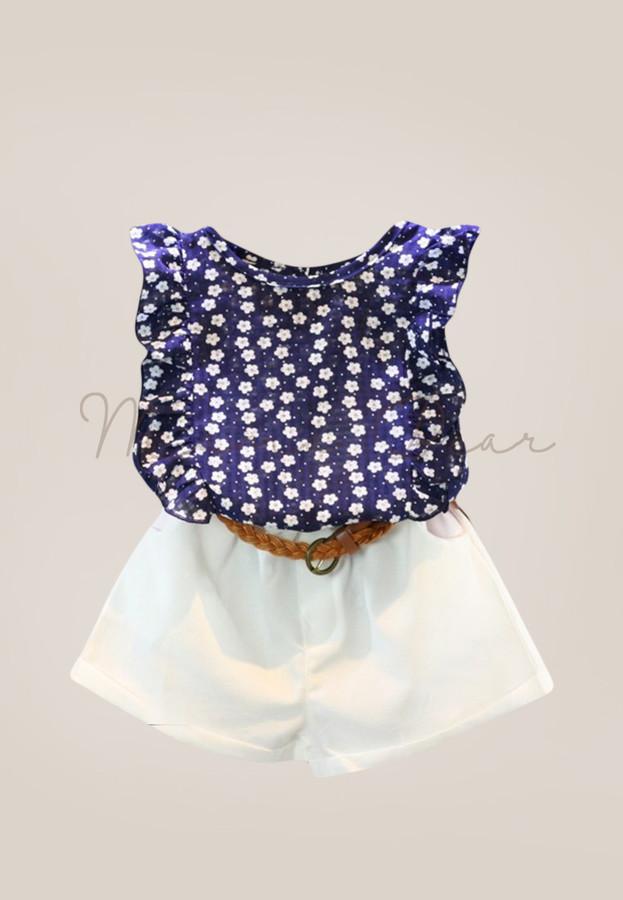 Polka Flower Kids Top and Shorts Set