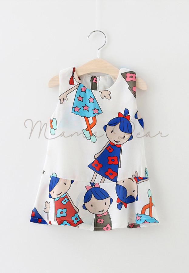 Colorful Girl Design Sleeveless Kids Dress