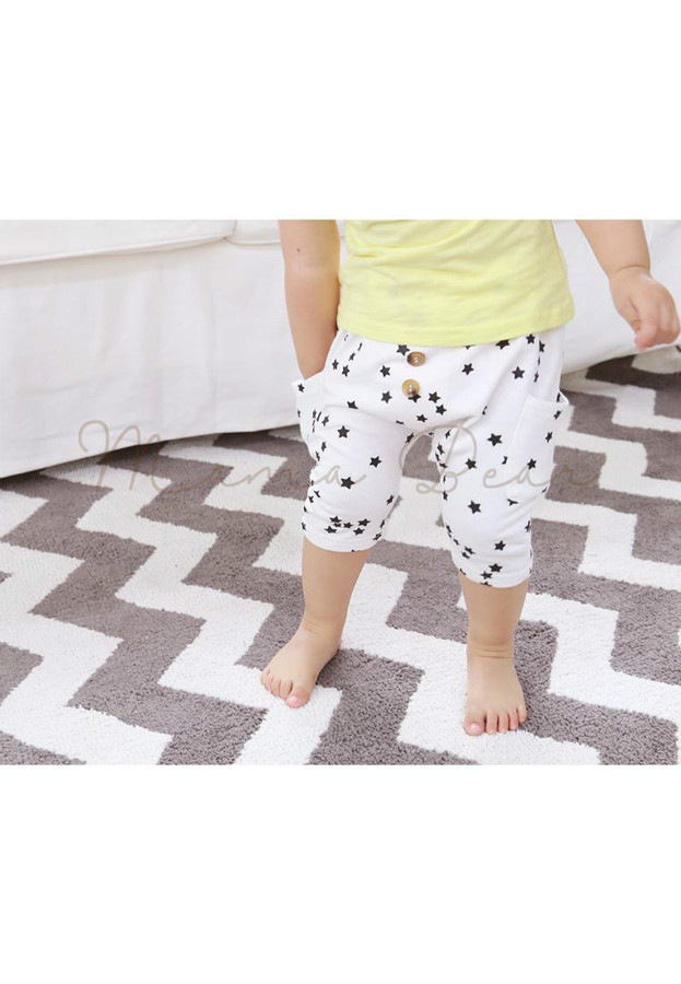 Three Button Stars Comfy Kids Harem Pants