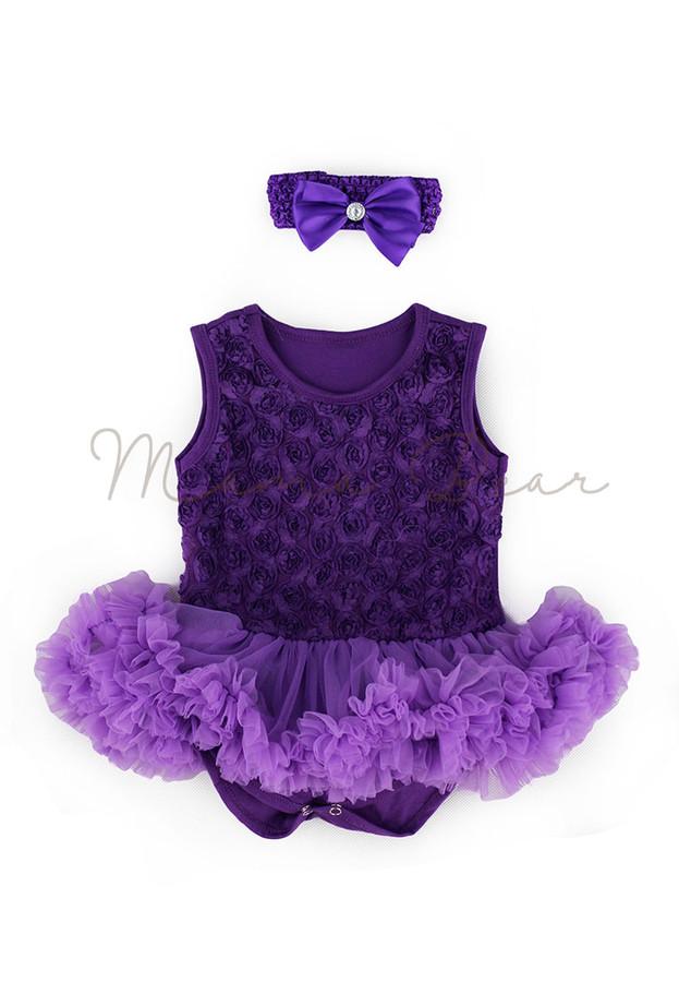 Violet Ruffled Roses Baby Tutu Set