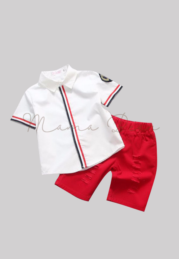 Simple Line Top With Ripped Shorts Kids Set