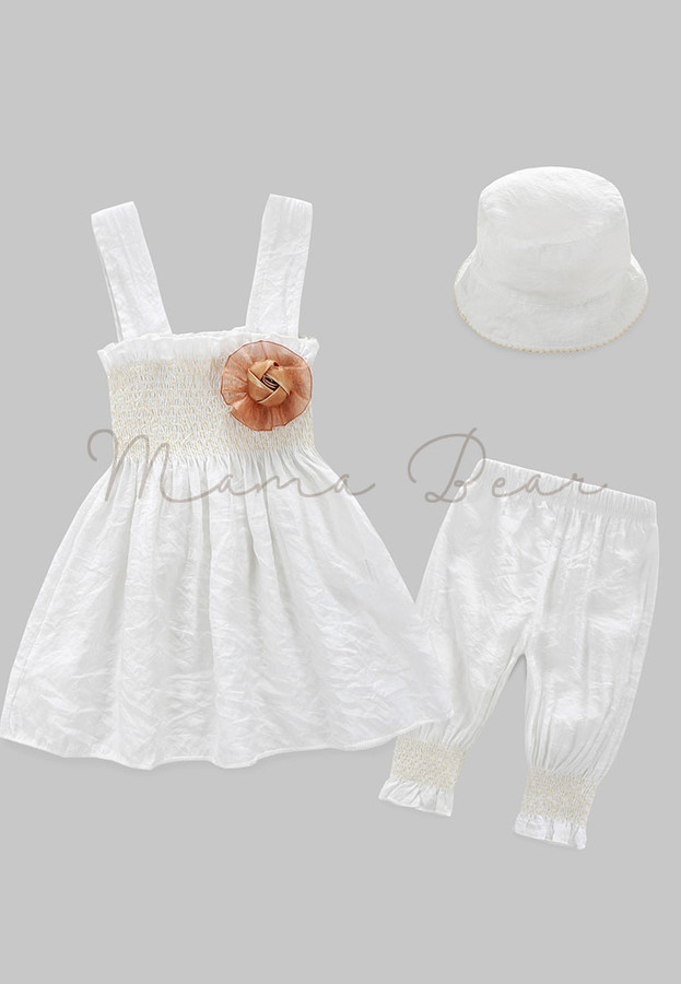 Sleeveless Dress With Hat And Pants Kids Set