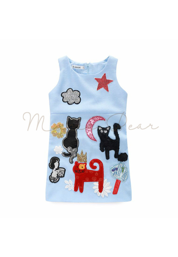 Cute Little Cats Print Sleeveless Dress
