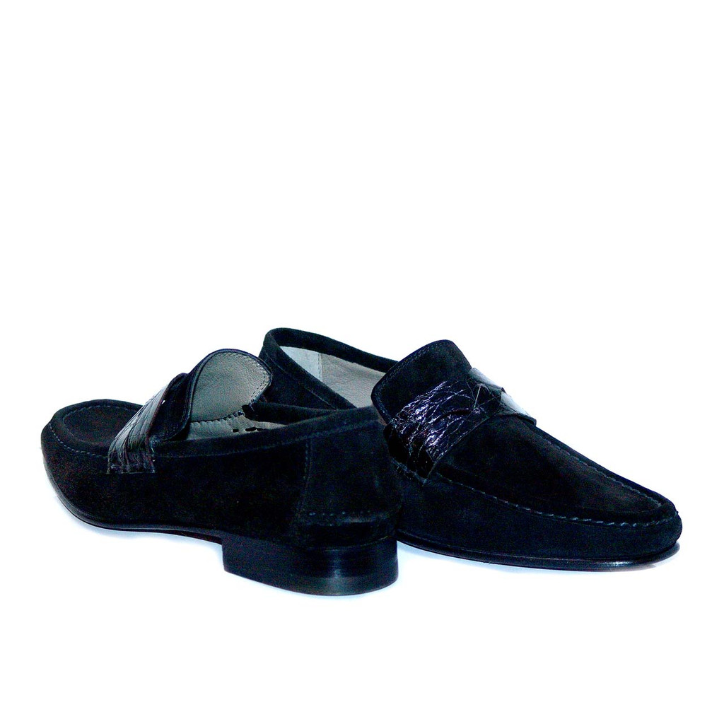 Lorenzo Banfi Suede Loafer Crocodile Vamp 671 Black