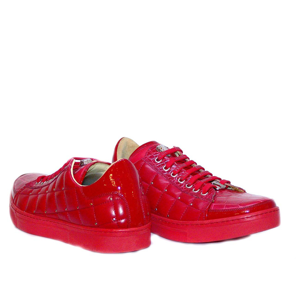 Fennix 3077 Alligator & Calfskin Sneaker Red- FINAL SALE