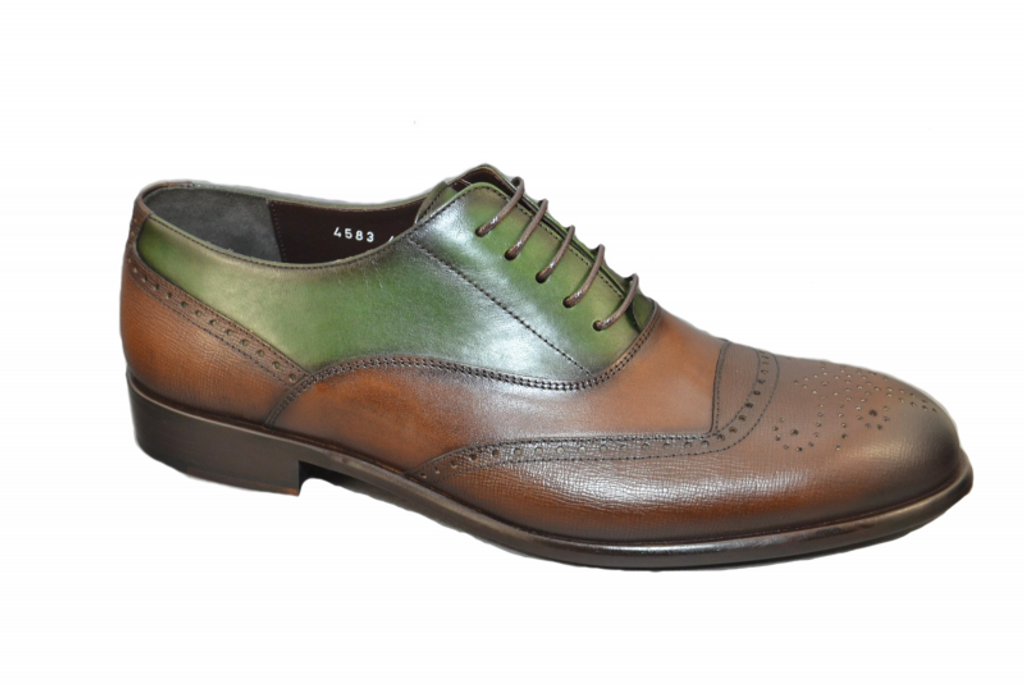 Corrente 4583 Perforated toe Lace up  -Brown-Green