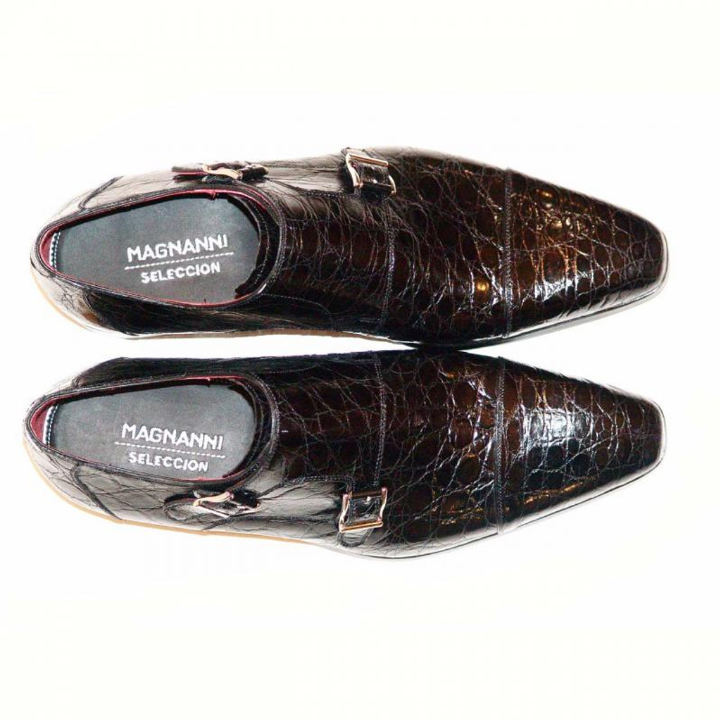 Magnanni Jamie Hand Burnished Antiqued Genuine Crocodile Black