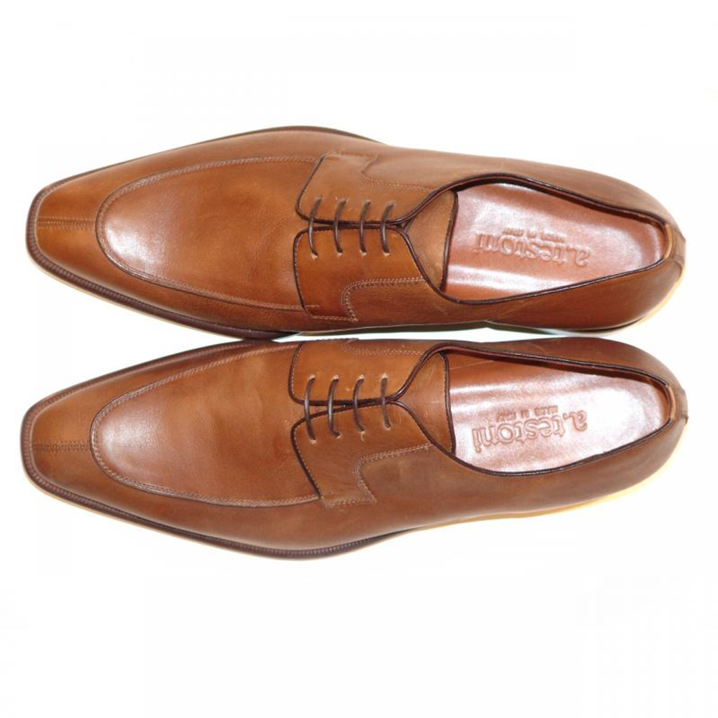 A.Testoni 45533 Caramel Matte Leather Split Toe