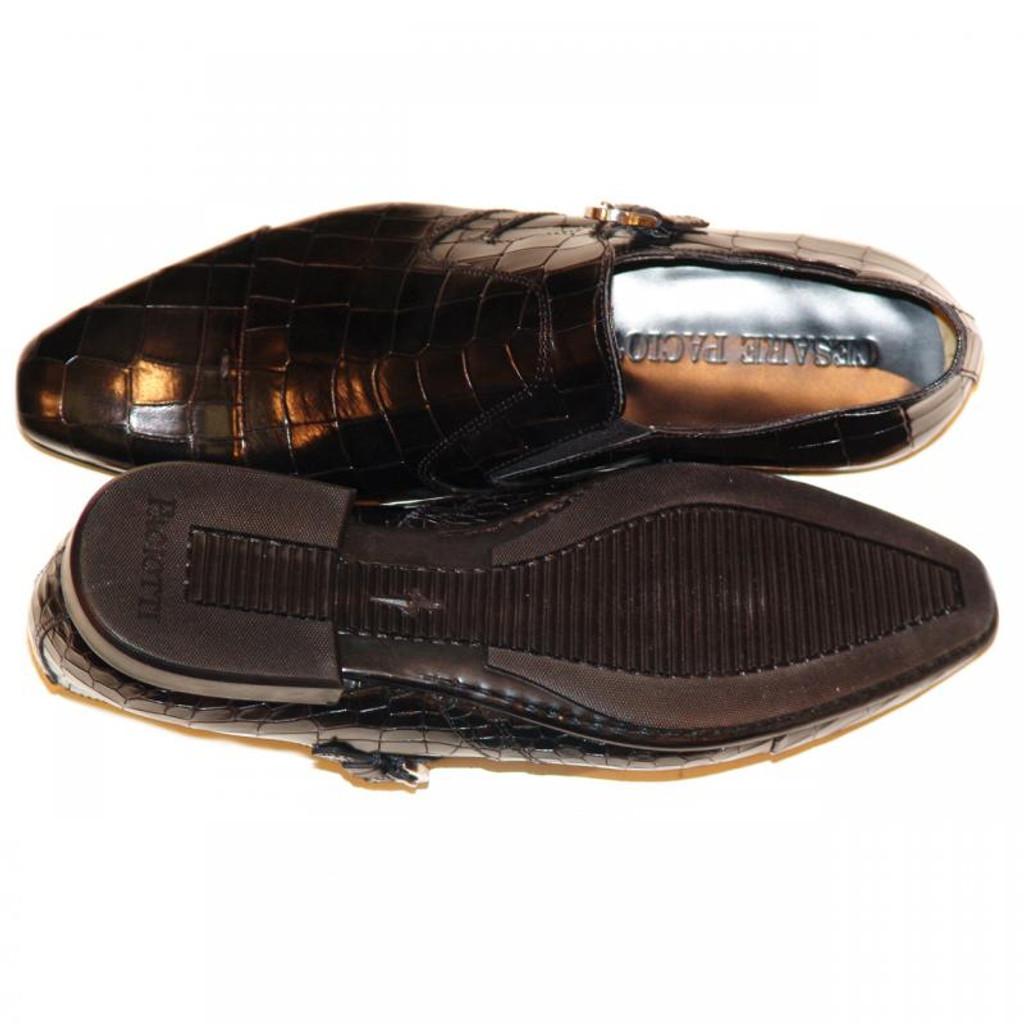 Cesare Paciotti 47307 Alligator Design Monk Strap Black