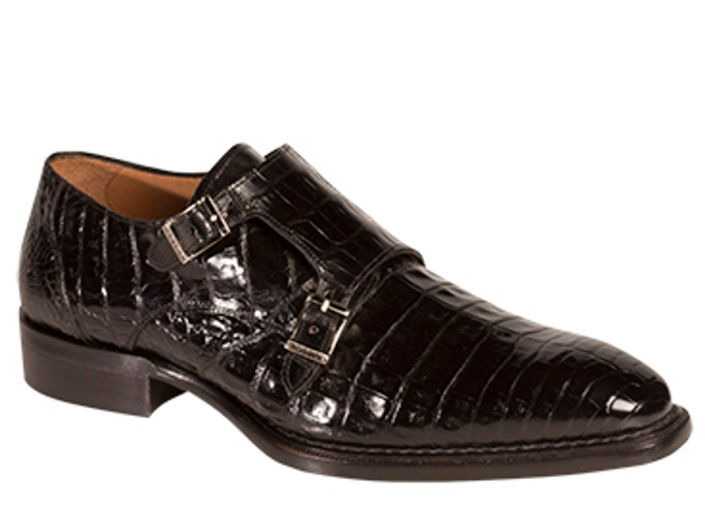 Mezlan Prague Doule Monk Strap Crocodile Black