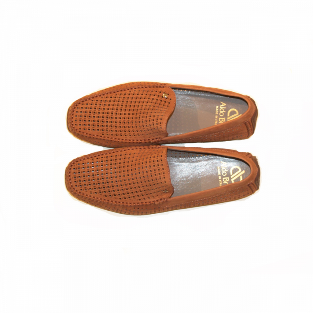 Aldo Brue Russo Perforated Nubak Rust