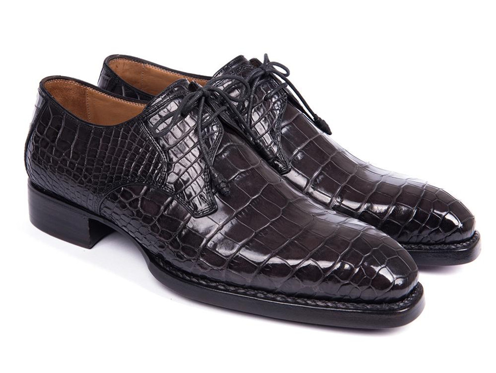 Paul Parkman Black Genuine Crocodile Derby Shoes for Men (ID#LX778-BLK)