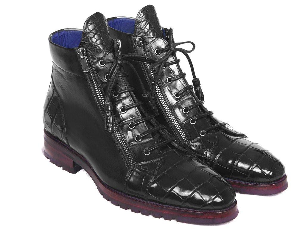 Paul Parkman Black Genuine Crocodile & Calfskin Side Zipper Boots (ID#82BLK76)
