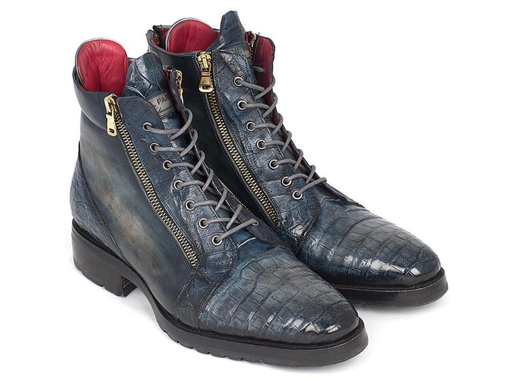 Paul Parkman Navy Genuine Crocodile & Calfskin Side Zipper Boots (ID#41CNV62)