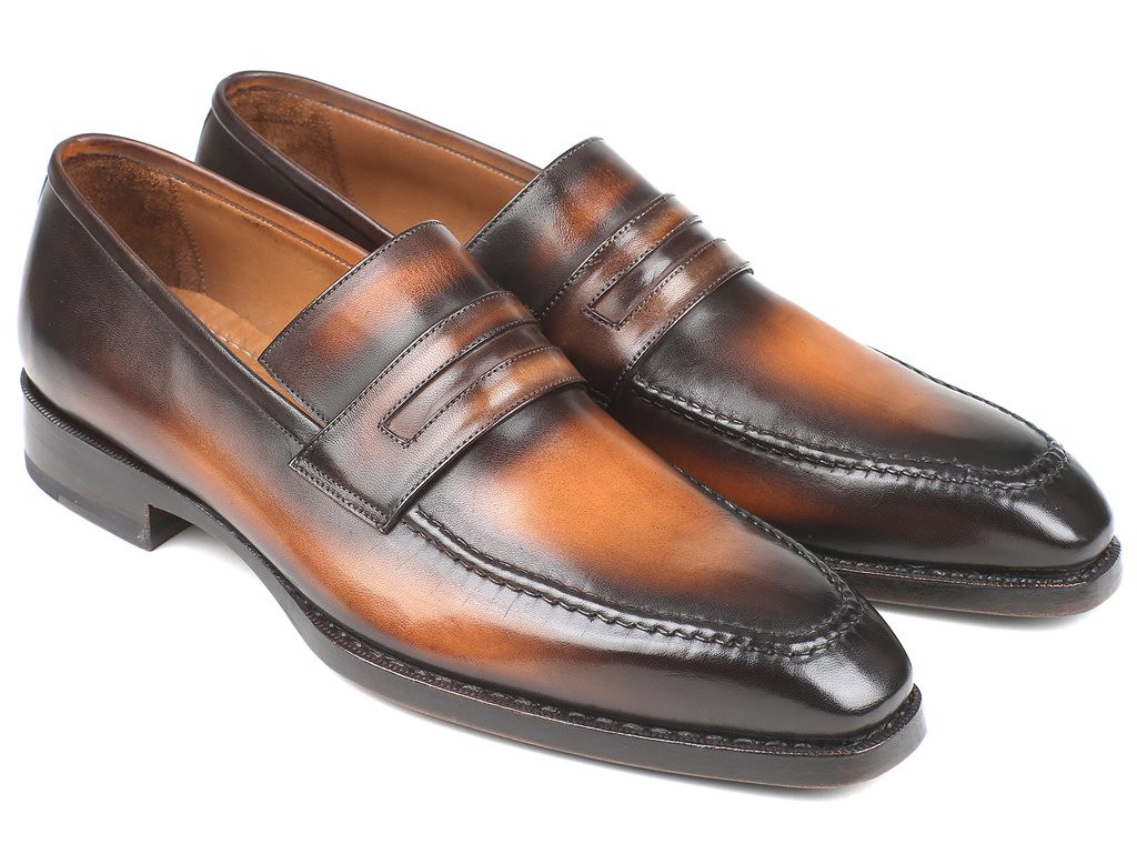 Paul Parkman Brown Burnished Goodyear Welted Loafers (ID#36LFBRW)