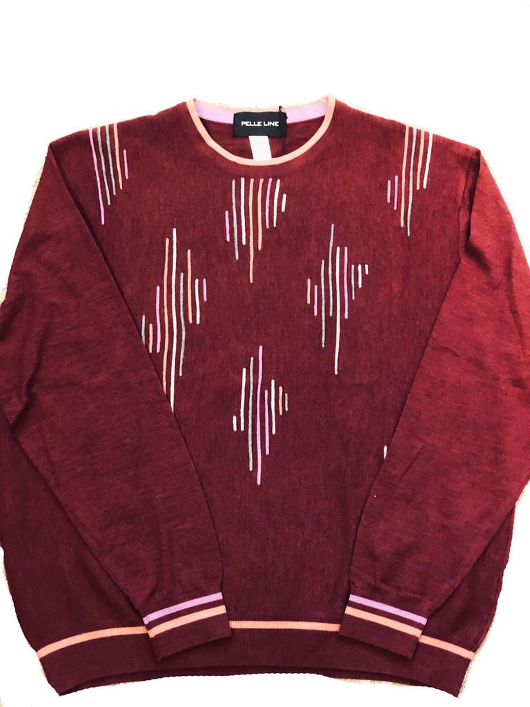 Pelle Line 22504 Sweater ,Crew Neck  - Red- FINAL SALE