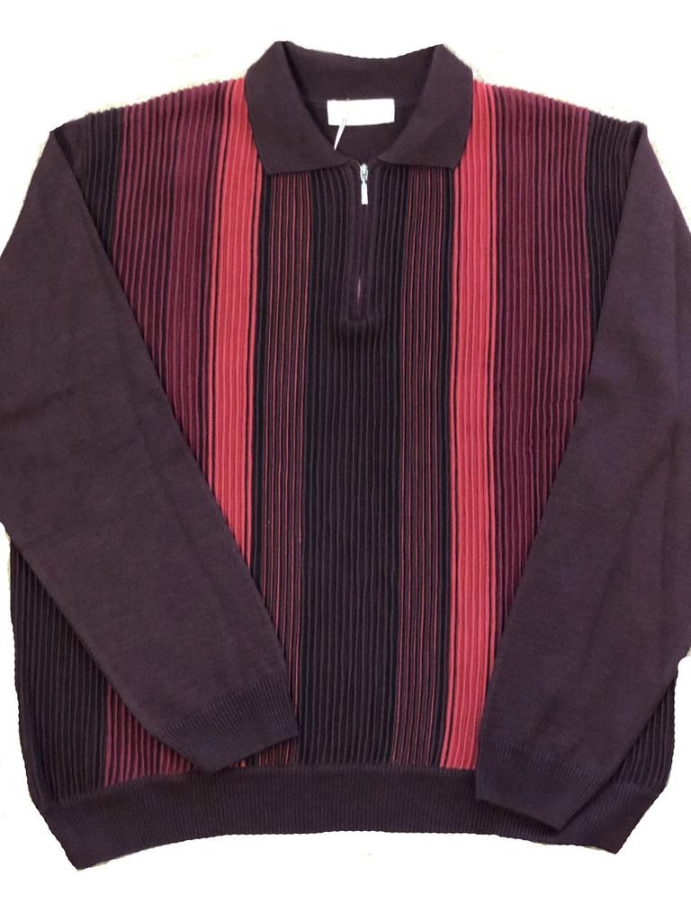 Pelle Line 504 Sweater Zipper Neck  -Burgundy- FINAL SALE