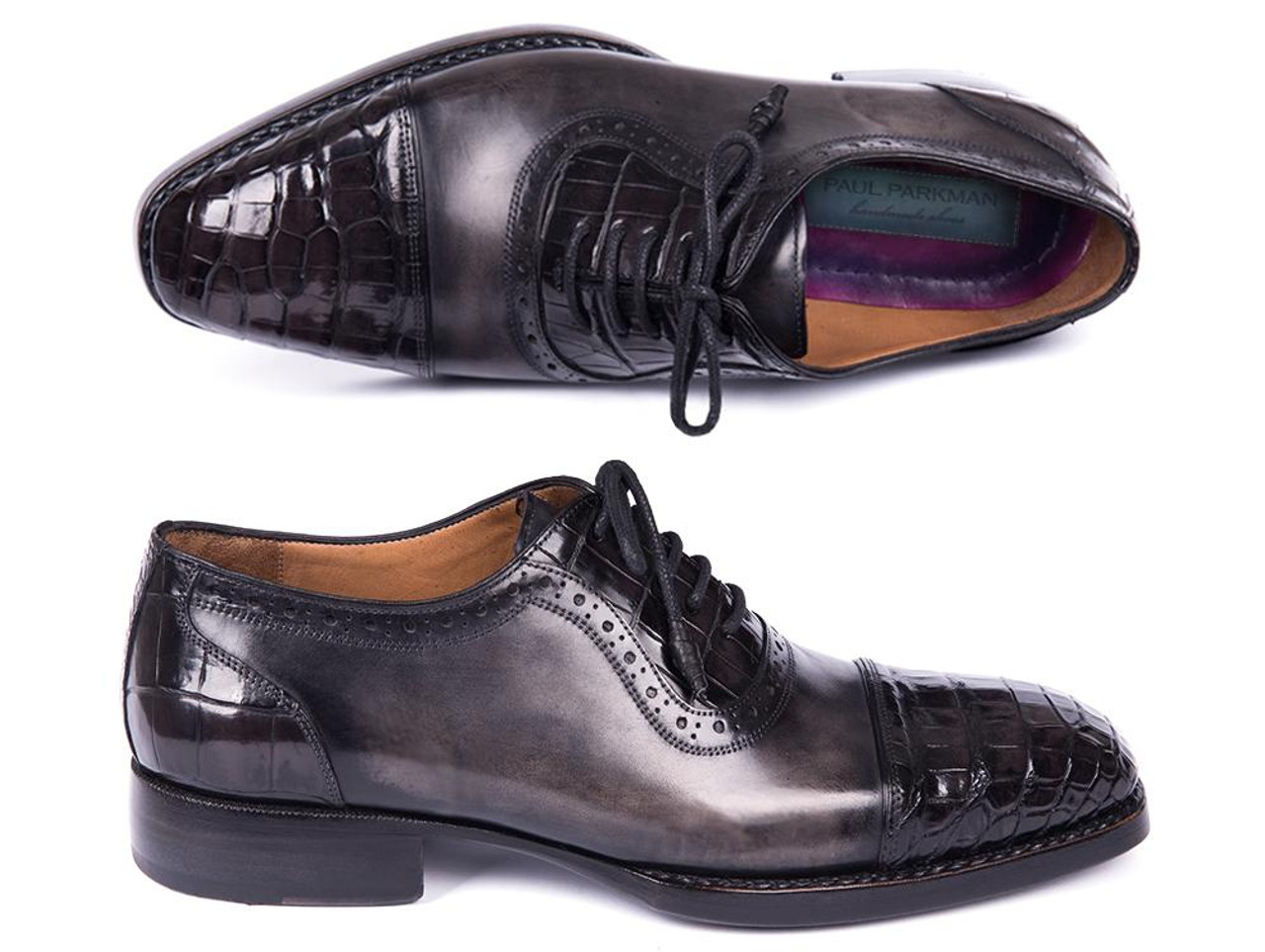 0f5c5e5e2922d Paul Parkman Black Genuine Crocodile & Gray Calfskin Captoe Oxfords  (ID#847-BLK)