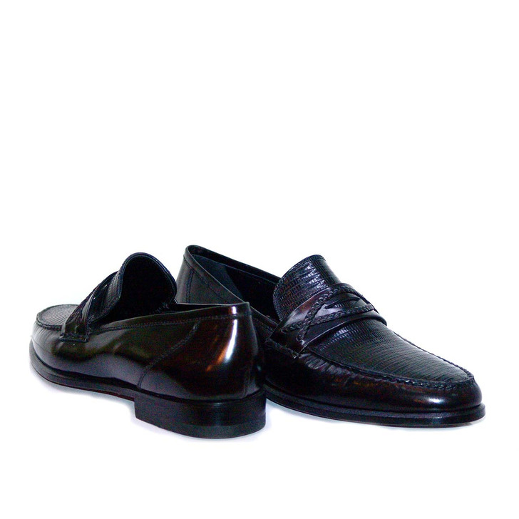 Lorenzo Banfi Lizard Vamp Loafer 722 Black- FINAL SALE