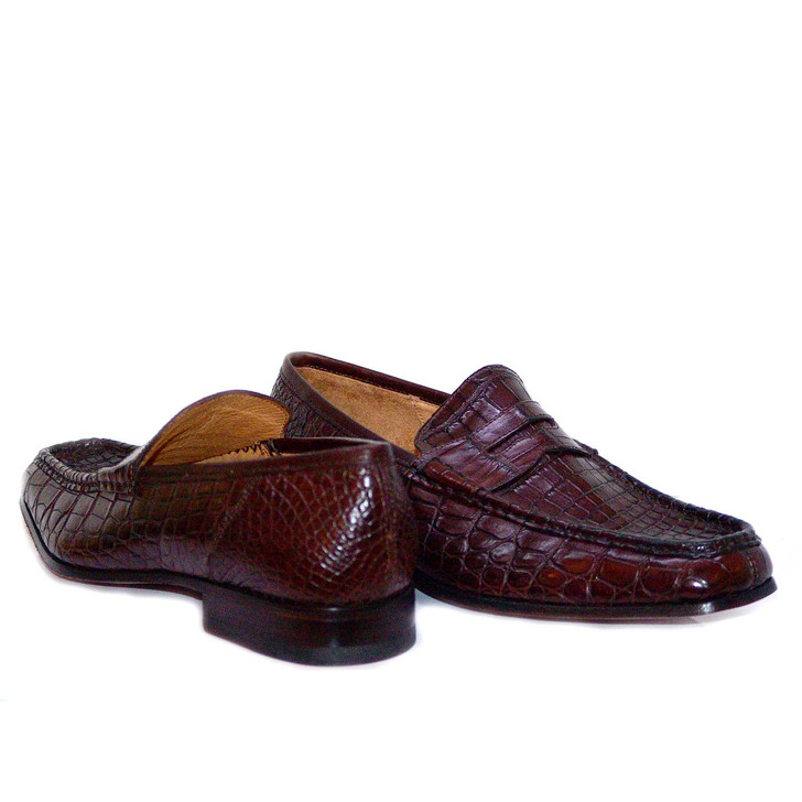Dami 2678 Baby Alligator Penny Loafer Brown- FINAL SALE