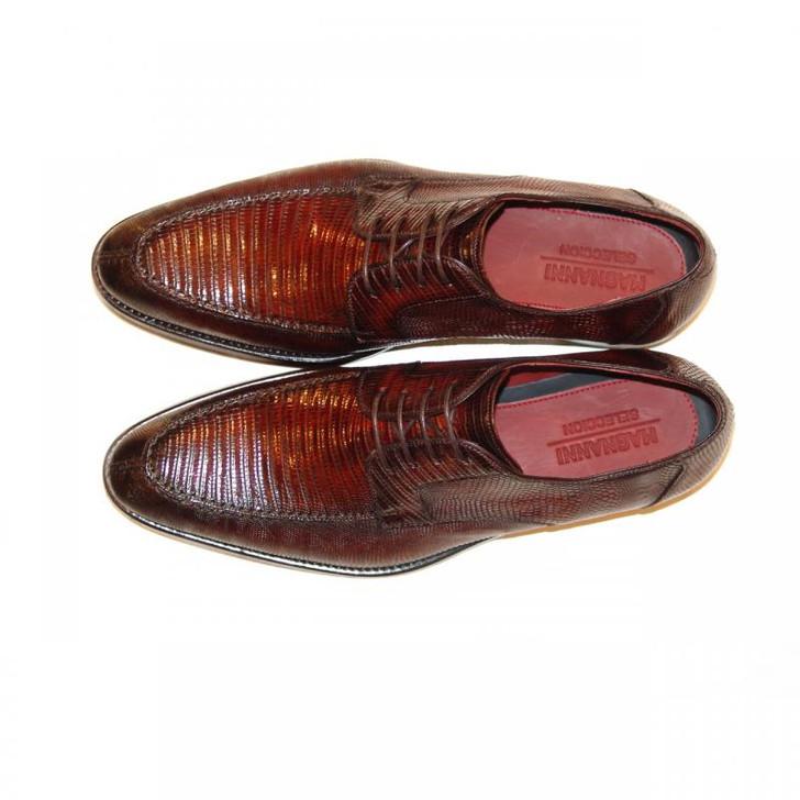 Magnanni Exclusive -Ian-6214 Lizard Split Toe Lace Up Brown