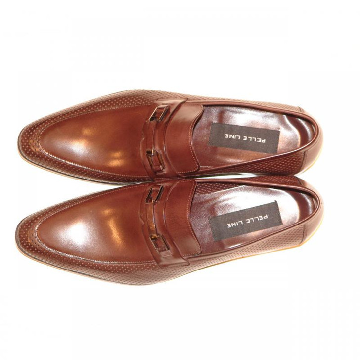 Pelle Line Exclusive 2996 Covered Buckle Loafer With Perforated Side Brown- FINAL SALE