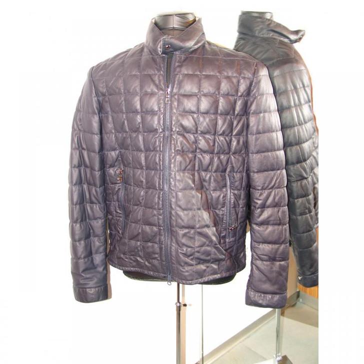 Pelleline Goose Down Leather Jacket Navy