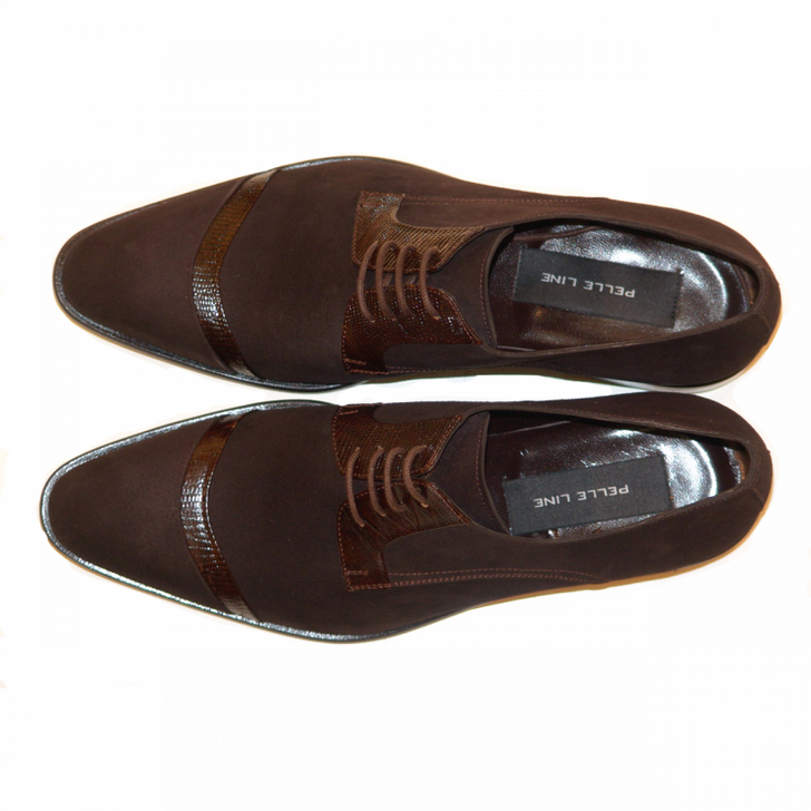 Pelle Line Exclusive 2432 Cap Toe Suede Lace Up Brown