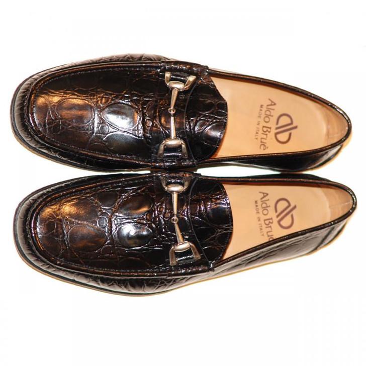 Aldo Brue 1326 Crocodile Leather Driving Shoe Black