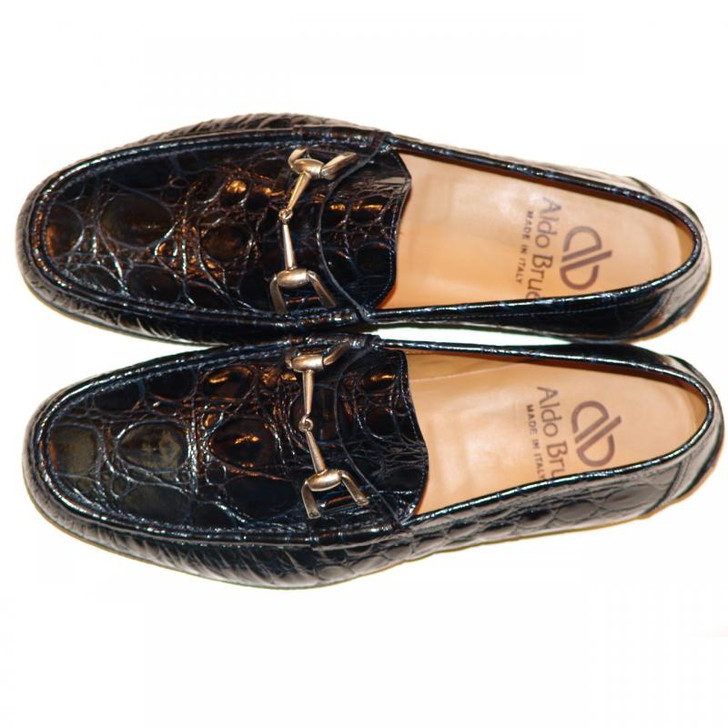 Aldo Brue 1326 Crocodile Leather Driving Shoe Navy- FINAL SALE