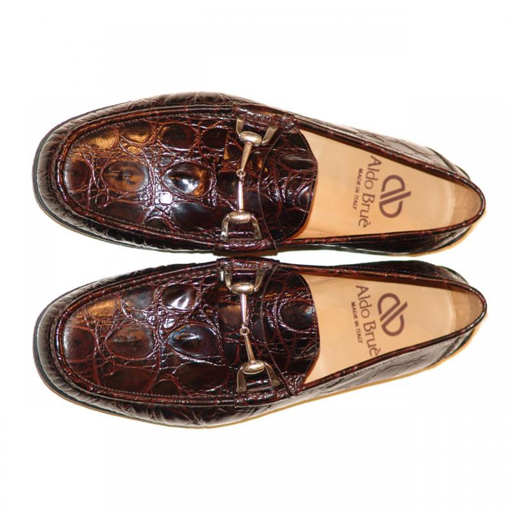 Aldo Brue 1326 Crocodile Leather Driving Shoe Brown