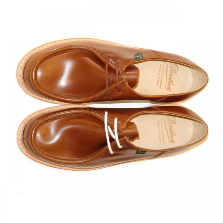 Paraboot Michael Leather Lace Up Tan With White Sole