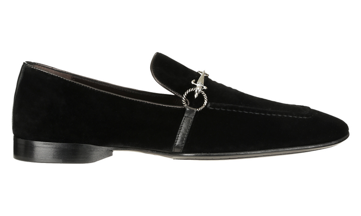 Cesare Paciotti 48361 Black Velvet Loafer With Dager Buckle